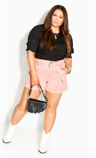 Sleeved Mix Top - black