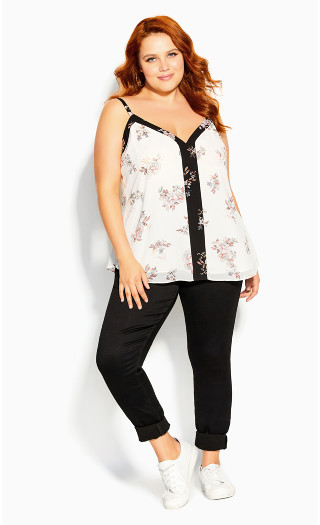 Spliced Floral Cami - ivory