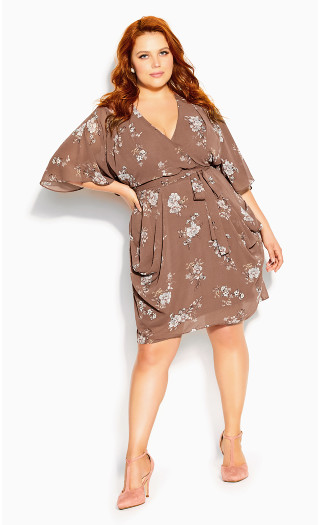 Imperial Wrap Dress - taupe