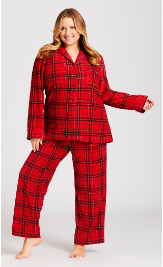 Fleece Check Pant - red