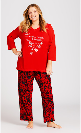 Slogan Sleep Top - red