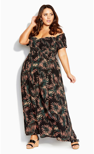 Yasmin Floral Maxi Dress - black