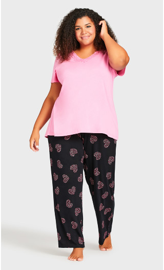 Pink Heart Sleep Pant - black