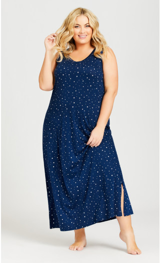 Navy Star Maxi Sleep Dress - navy