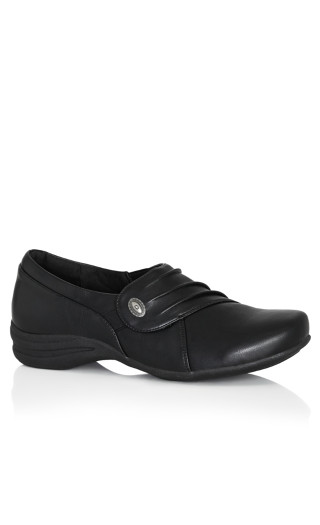Closed Toe Pleat Step In Loafer - black