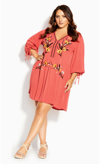 Sunshine Embroidered Dress - tangerine