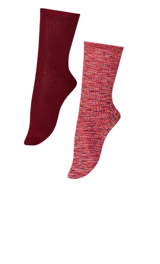 Ribbed Socks 2 Pack - burgundy