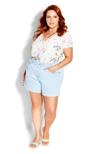 V Summer Rose Top - white