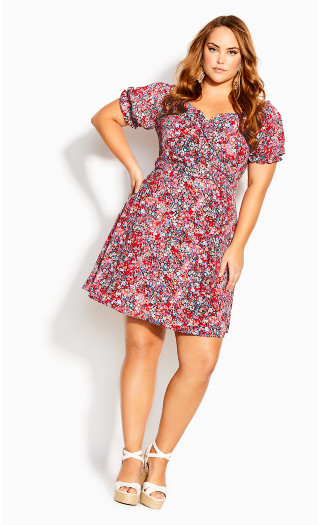 Ditsy Lover Dress - red floral