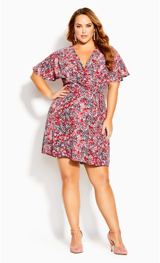 Ditsy Short Sleeve Dress - red floral