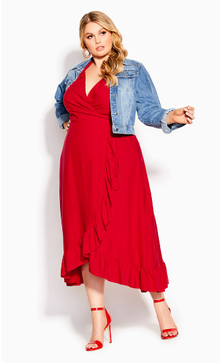 Ruffle Flirt Maxi Dress - red