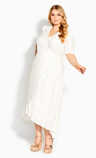 Ruffle Flirt Maxi Dress - white