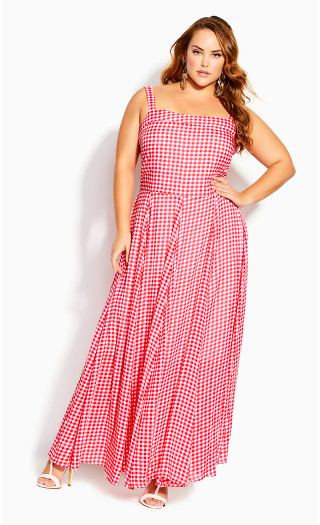 Picnic Check Maxi Dress - sugar pink