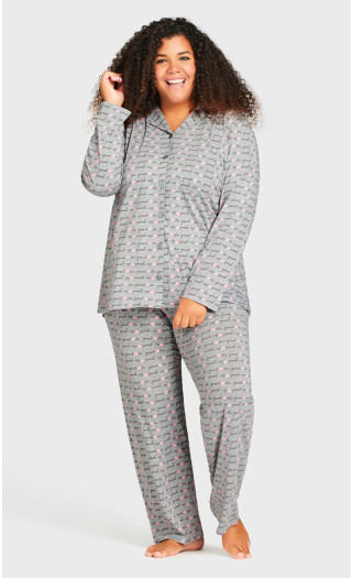 Print Sleep Pant - gray