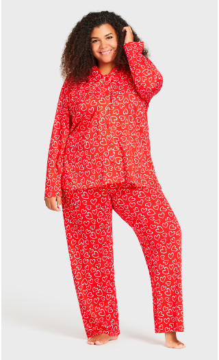 Print Sleep Pant - red heart