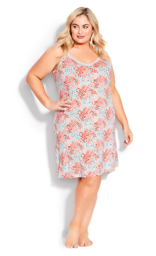 Lace Print Nightie - pink ditsy