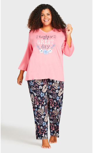 Movie Night Sleep Pant - navy foliage