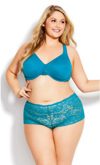 Lace Cheeky Brief - teal
