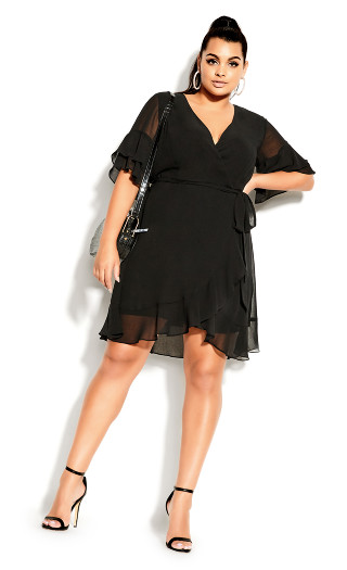 Flutter Frill Dress - black
