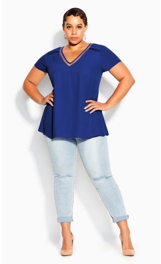 V Lace Trim Top - cobalt