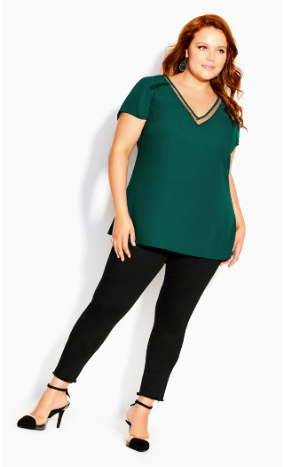 V Lace Trim Top - jade