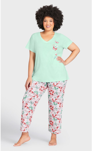 Blushing Sleep Pant - pink butterfly