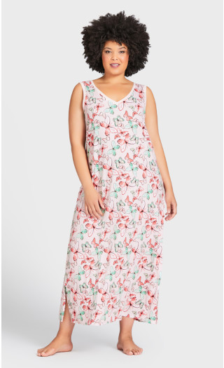 Butterfly Maxi Sleep Dress - pink