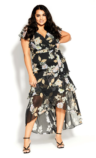 Aria Floral Maxi Dress - black