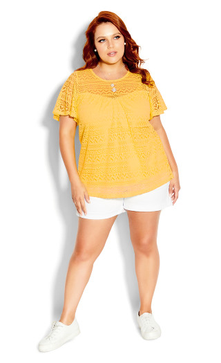 Serenity Short Sleeve Top - sunshine