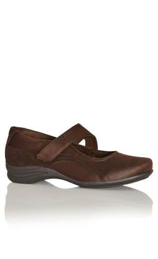 Mary Jane Comfort Flat - brown