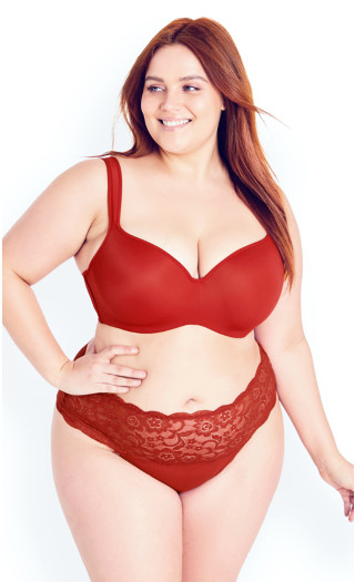 Cotton Thong - poppy red