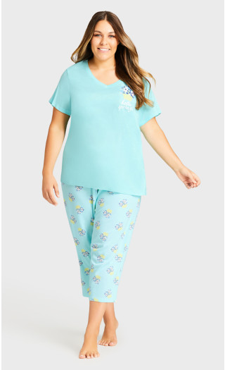 Spring Placement Sleep Top - aqua