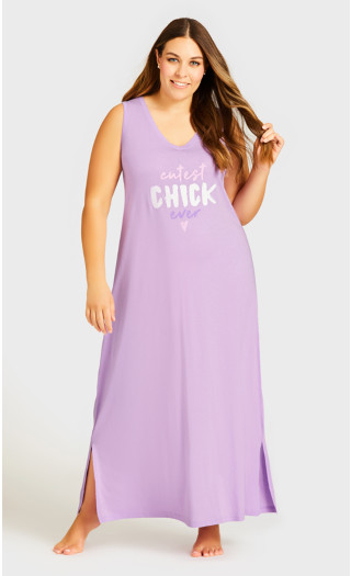 Cute Chick Maxi Sleep Dress - lilac