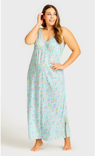 Lace Floral Maxi Sleep Dress - mint