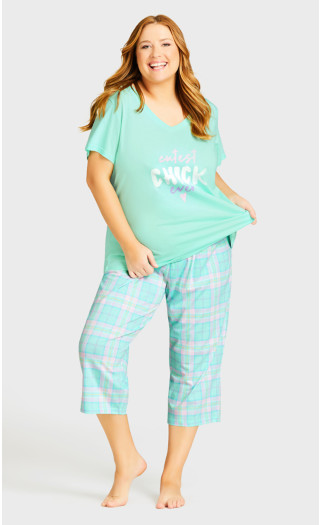 Tie Waist Print Sleep Pant - mint check