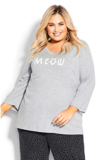 Meow Sleep Top - gray
