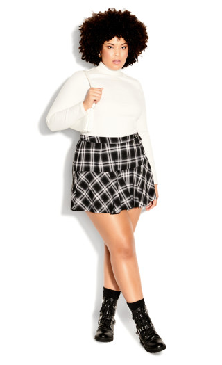 1980s Clothing, Fashion | 80s Style Clothes SKORT CHECK IN - BlackIvory Check - 12  XXS $34.50 AT vintagedancer.com