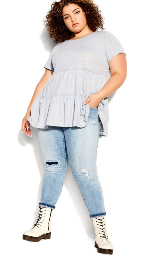 Lexi Tiered Top - gray marle