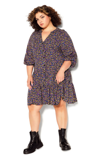 Lucia Tiered Dress - black ditsy