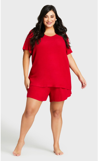 Beautiful Hacci Sleep Short - red