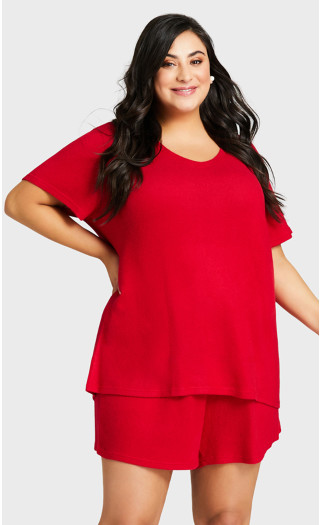 Beautiful Hacci Sleep Top - red