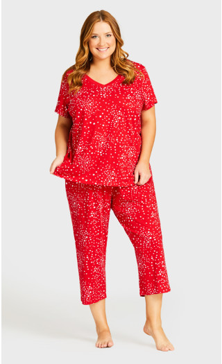 Print Sleep Top - red star
