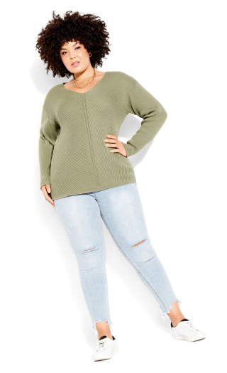 Simple V Neck Sweater - winter pear