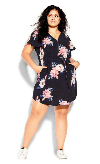 True Love Floral Dress - black