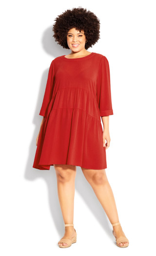Be A Doll Plain Dress - red