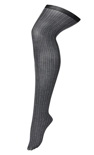 Contrast Ribbed Stockings - gray