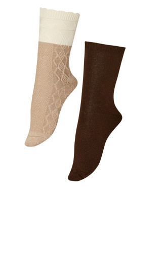 Diamond Socks 2 Pack - beige