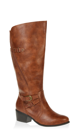 Harriet Double Buckle Tall Boot - cognac