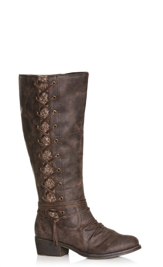 Frankie Faux Lace-Up Boot - brown