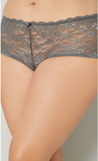 Grey Lace Cheeky Panty